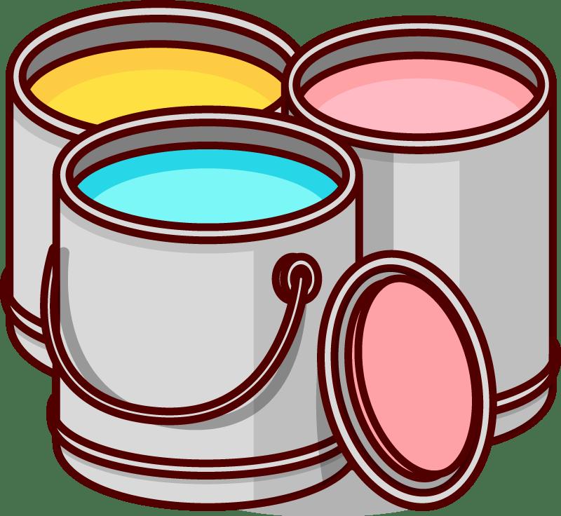 Drei Eimer mit Farbe